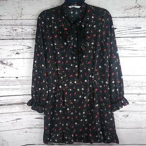 Zara Basic Floral long sleeve dress size small